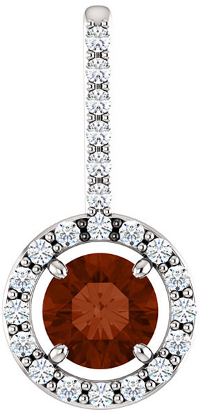 Halo Accented Pendant Mounting for Round Gemstone Size 4.10mm to 12mm - Customize Metal, Accents or Gem Type