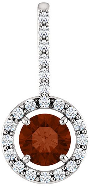 Halo Accented Pendant Mounting for Round Shape Centergem Sized 4.10mm to 12.00 mm - Customize Metal, Accents or Gem Type