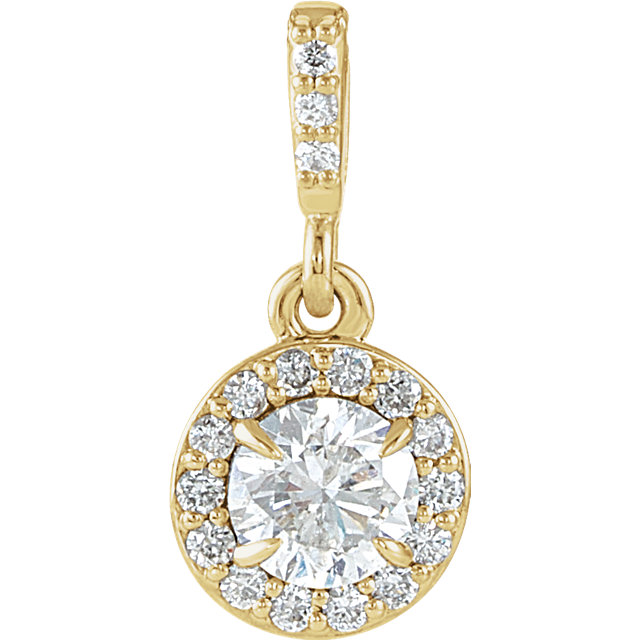 Very Nice 14 Karat Yellow Gold 0.40 Carat Total Weight Diamond Halo-Style Pendant