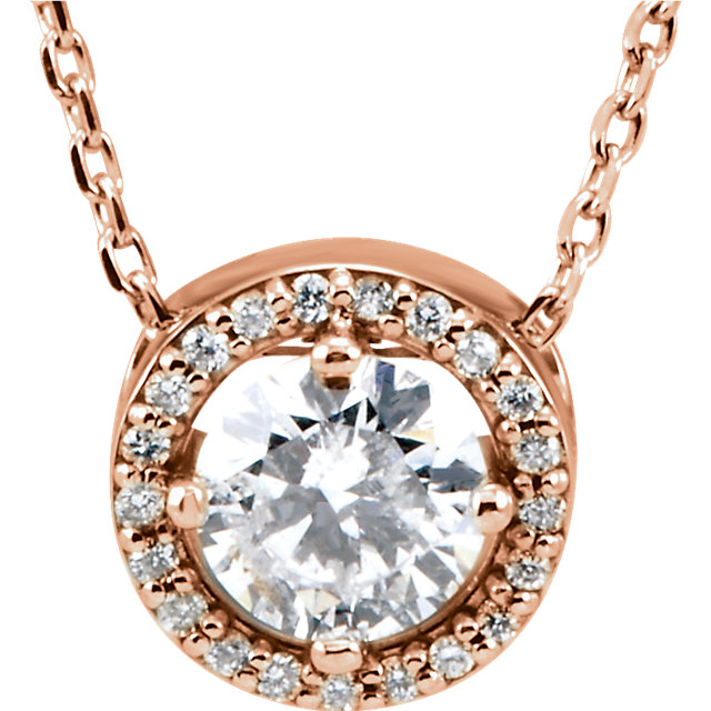 Fabulous 14 Karat Rose Gold 1/2 Carat Total Weight Round Genuine Diamond Halo-Style 16