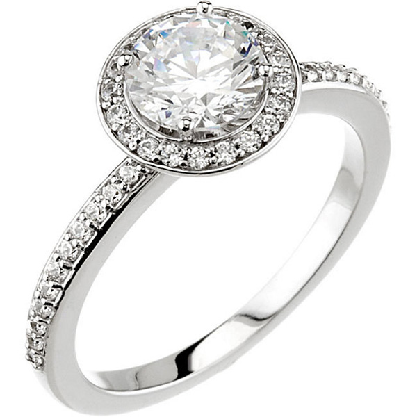 Halo Style Accented Band Continuum Sterling Silver Cubic Zirconia & 1/5 Carat TW Diamond Engagement Ring