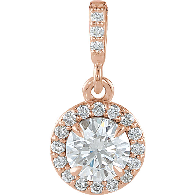 Appealing Jewelry in 14 Karat Rose Gold 0.50 Carat Total Weight Diamond Halo-Style Pendant