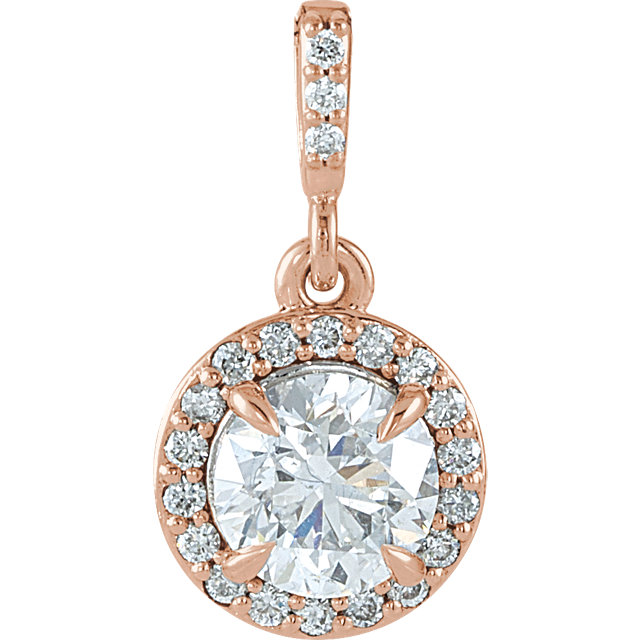 Stunning 14 Karat Rose Gold 0.90 Carat Total Weight Diamond Halo-Style Pendant