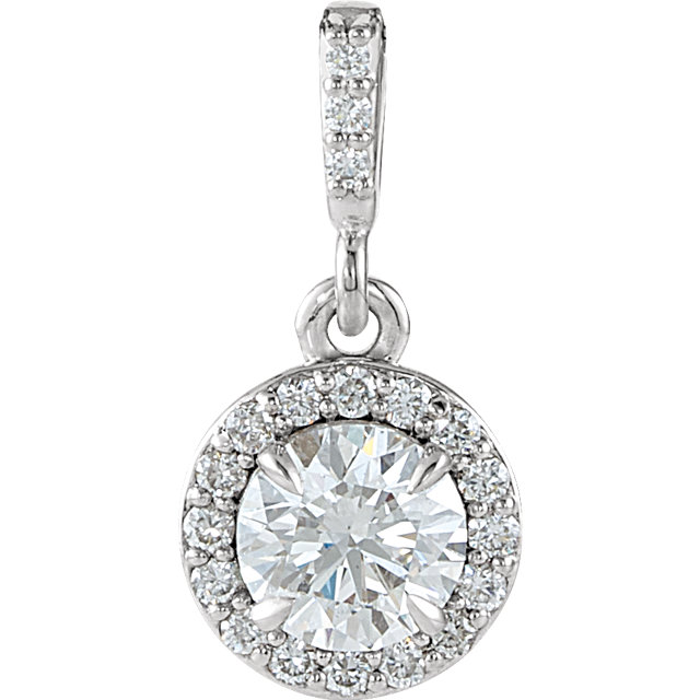 Appealing Jewelry in 14 Karat White Gold 0.50 Carat Total Weight Diamond Halo-Style Pendant