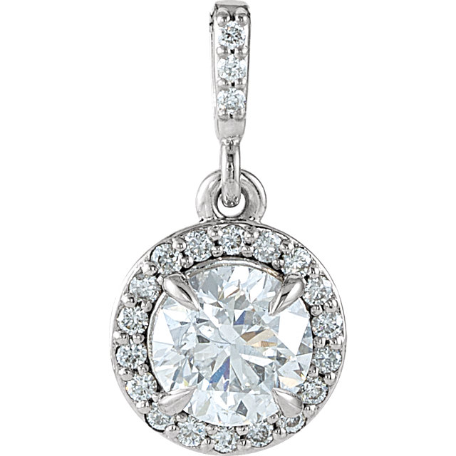 14 Karat White Gold 0.90 Carat Diamond Halo-Style Pendant
