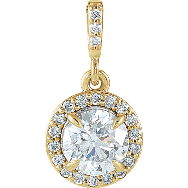 Perfect Gift Idea in 14 Karat Yellow Gold 0.90 Carat Total Weight Diamond Halo-Style Pendant