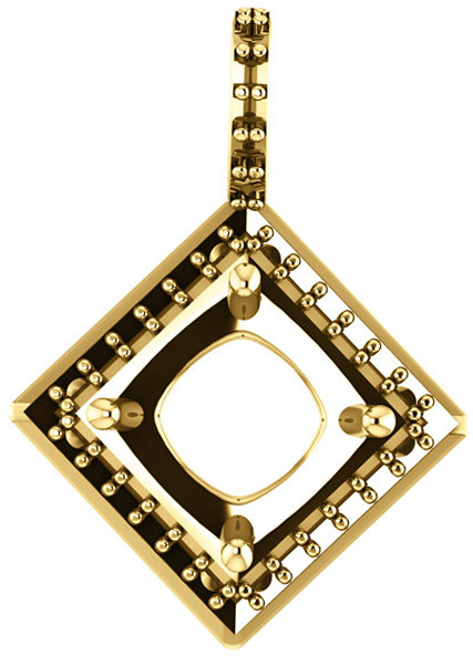 Halo Styled Drop Pendant Mounting for Asscher Gemstone Size 5mm to 7mm