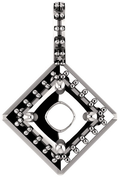 Halo Styled Drop Pendant Mounting for Asscher Shape Centergem Sized 5.00 mm to 7.00 mm - Customize Metal, Accents or Gem Type
