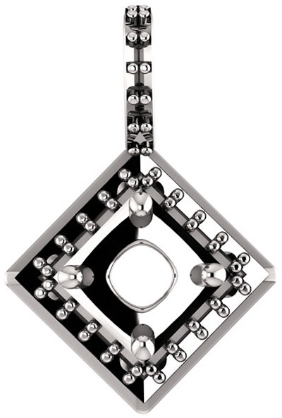 Halo Styled Drop Pendant Mounting for Cushion Shape Centergem Sized 5.00 mm to 8.00 mm - Customize Metal, Accents or Gem Type