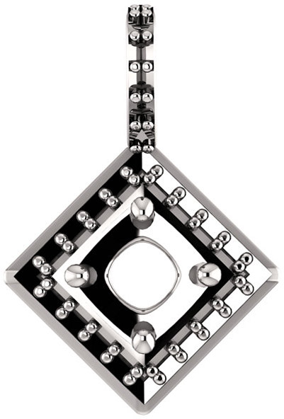 Halo Styled Drop Pendant Mounting for Round Shape Centergem Sized 5.20 mm to 10.00 mm - Customize Metal, Accents or Gem Type