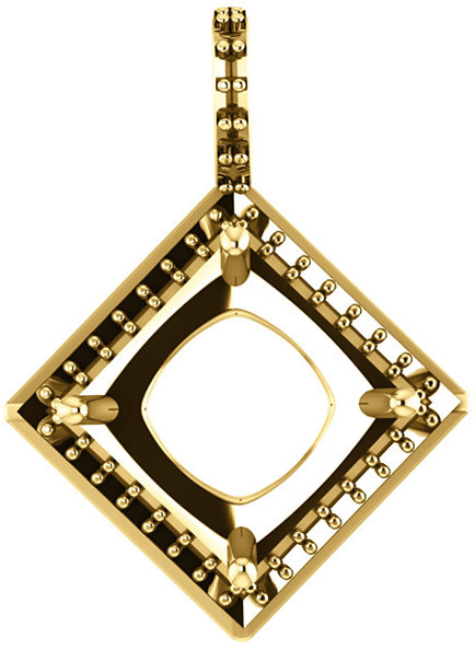 Halo Styled Drop Pendant Mounting for Square Shape Centergem Sized 4.50 mm to 8.00 mm - Customize Metal, Accents or Gem Type