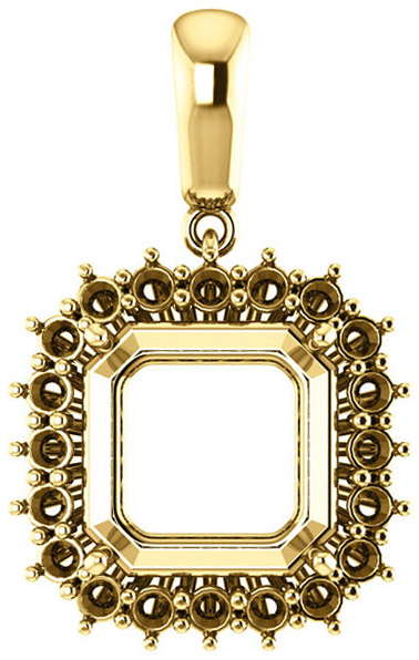 Halo Styled Pendant Mounting for Asscher Shape Centergem Sized 5.00 mm to 10.00 mm - Customize Metal, Accents or Gem Type
