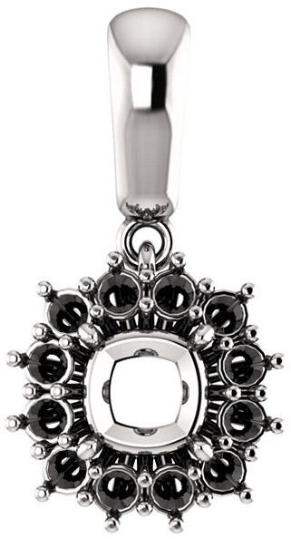 Halo Styled Pendant Mounting for Cushion Shape Centergem Sized 5.00 mm to 15.00 mm - Customize Metal, Accents or Gem Type