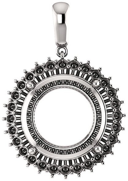 Halo Styled Pendant Mounting for Round Shape Centergem Sized 5.20 mm to 15.00 mm - Customize Metal, Accents or Gem Type