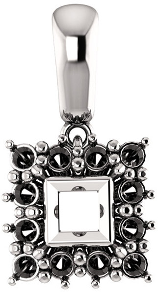 Halo Styled Pendant Mounting for Square Shape Centergem Sized 5.00 mm to 10.00 mm - Customize Metal, Accents or Gem Type