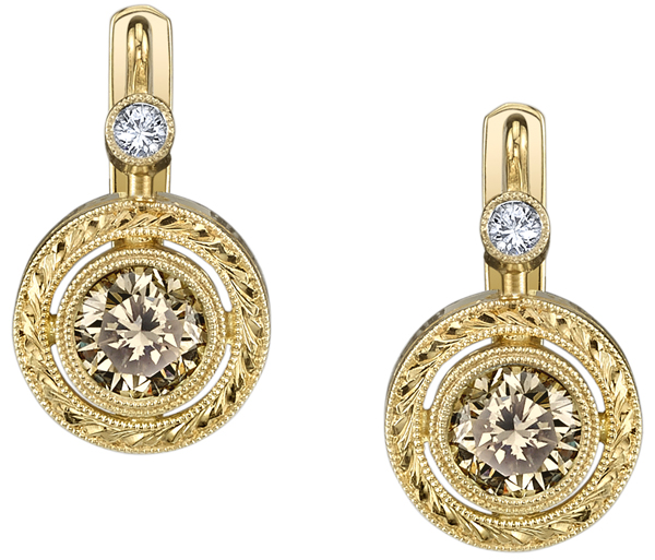 Hand Engraved Natural 6mm Champagne Color Diamond Bezel Set Earrings in 18kt Yellow Gold - .1ctw White Diamond Accents