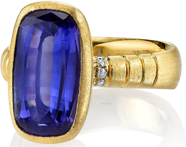 Handcrafted Satin Finish Bezel Set 18kt Yellow Gold Ring With 6.09ct Cushion Cut Tanzanite - Diamond Accents