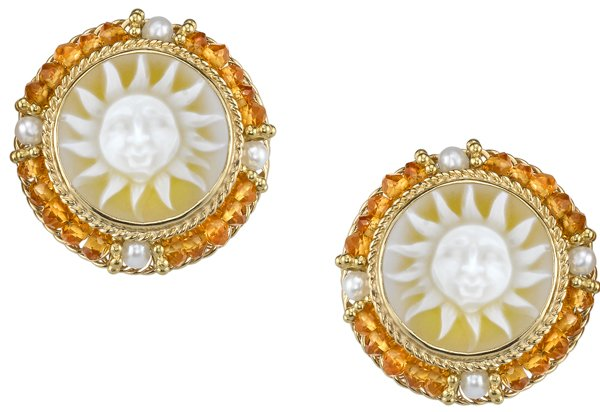 Handcrafted Victorian Style Sun Agate Cameo 18kt Yellow Gold Earrings - Citrine & Pearl Bead Accents