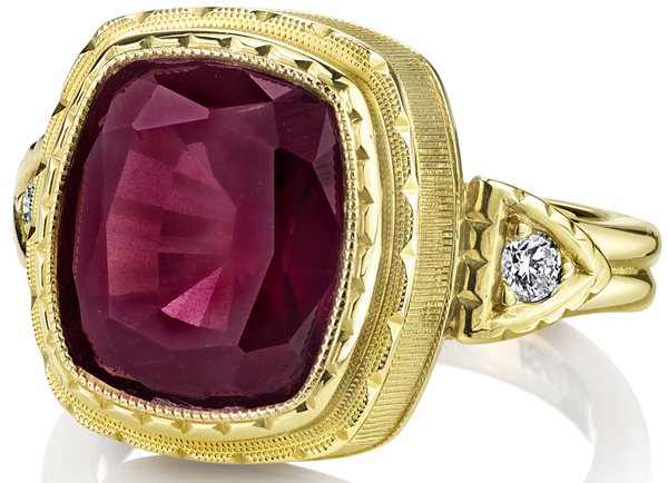 Handmade 18kt Yellow Gold Ring with 7.5 carat Raspberry Rhodolite Garnet and Diamond Side Gems