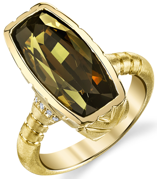 Handmade Bezel Set 18kt Yellow Gold 9.54ct Barrel Cut Olive Brown Tourmaline Gemstone Ring - Diamond Accents