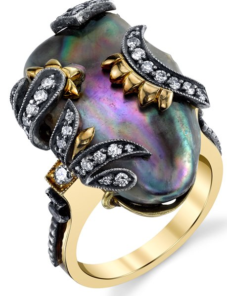 Handmade Natural 16.6ct Abalone Pearl Gemstone Ring With Diamond Accents - 18kt White & Yellow Gold