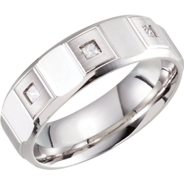 Handsome Men's Diamond 7mm Band Ring in 14k White Gold With Three 2.40 mm Diamond Accents - Geometric Pattern