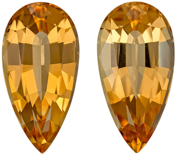 Hard to Duplicated Topaz Well Matched Pair in Pear Cut, Rich Peachy Golden, 13.2 x 6.7 mm 6.6 carats