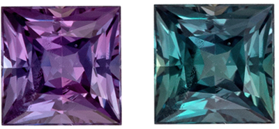 Hard to Find Alexandrite Genuine Gem in Princess Cut, 0.23 carats, Teal Blue to Burgundy Magenta, 3.4 mm