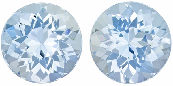 Hard to Find Aquamarine Well Matched Pair in Round Cut, Rich Blue, 7.2 mm, 2.54 carats