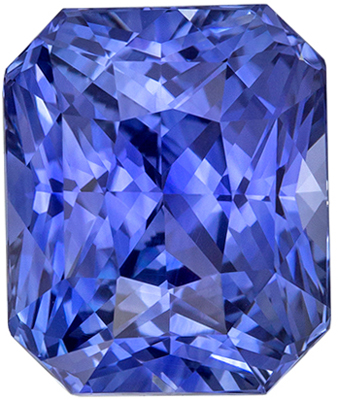 Hard to Find Blue Sapphire Loose Gem, Radiant Cut, Vivid Intense Blue, 8.6 x 7.1 mm, 3.31 carats