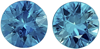 Hard to Find Blue Zircon Well Matched Gemstone Pair in Round Cut, Vivid Teal Blue, 8 mm, 5.02 carats
