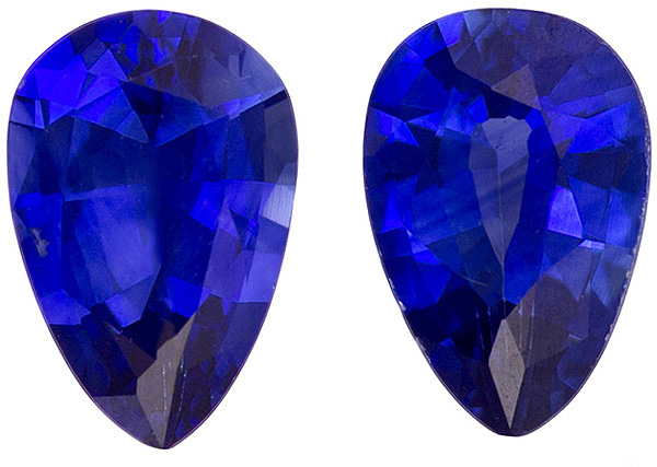 Hard to Find Cobalt Blue Sapphire Well Matched Pair in Pear Cut, 6 x 4 mm, 0.86 carats