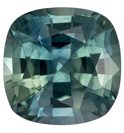 Hard to Find Gem  Cushion Cut Natural Blue Green Sapphire Loose Gemstone, 1.17 carats, 6 x 5.9 mm , Very Bright Gem