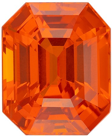 Hard to Find Gem  Orange Sapphire Genuine Gemstone, 6.48 carats, Emerald Shape, 11.04 x 9.02 x 6.84 mm  with  Certificate