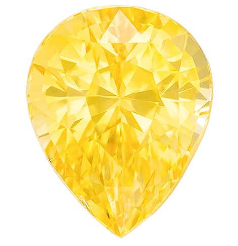 Hard to Find Gem  Pear Cut Beautiful Yellow Sapphire Gemstone, 2.03 carats, 8.1 x 6.5 mm , Full Brilliance
