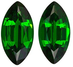 Hard to Find Gemmy Tsavorite Paired Stones from East Africa, Marquise cut, 1.65 carats