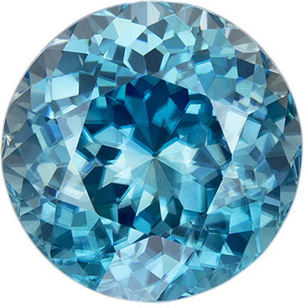 Hard to Find Loose Blue Zircon Huge Round Cut Gem in Medium Blue Color, 11.5 mm, 8.64 carats
