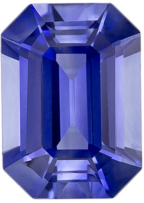 Hard to Find Rich Cornflower Blue Sapphire Gem in Emerald Cut in 7.3 x 5.2 mm, 1.23 carats
