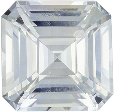 Hard to Find White Sapphire Gemstone, Very Colorless White in Rare Asscher Cut 8.3 x 8.3 mm, 3.65 carats