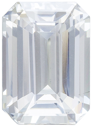 Deal on Colorless White Sapphire Loose Gem, Diamond Like Colorless White, Emerald Cut, 8.1 x 5.8 mm, 2.04 carats