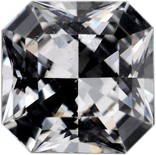 Hard to Find Sapphire Loose Gem in Asscher Cut, Near Colorless, 6.44 x 6.43  mm, 1.37 Carats