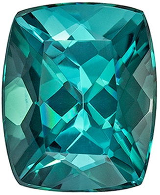 Loose Blue Green Tourmaline Genuine Gem, Cushion Cut in a Gorgeous Teal Blue Green Color in 1.95 carats , 8.2 x 6.7 mm