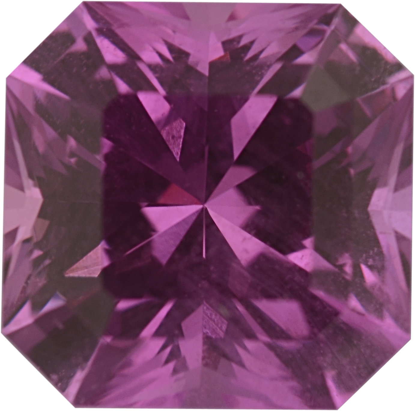Hard to Find  Unheated Sapphire Loose Gem in Asscher Cut, Vibrant Purple Pink, 6.46 x 6.44  mm, 1.68 Carats