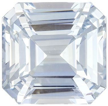 Hard to Find White Sapphire Emerald Cut Loose Gemstone Colorless White, 9 x 8.8 mm, 5.05 carats