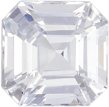 Hard to Find White Sapphire Genuine Gemstone, 6.1 mm, Very Colorless White, Emerald Cut, 1.55 carats
