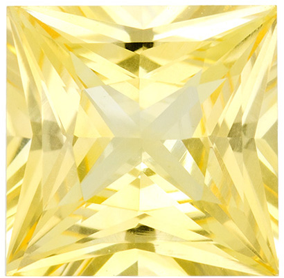 Hard to Find Yellow Sapphire Princess Cut in Light Brilliant Yellow Color in 6.0 mm, 1.12 carats