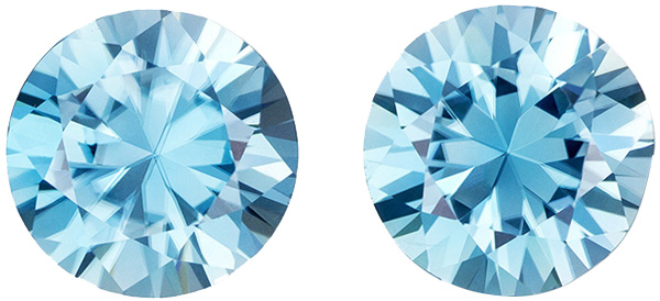 Hard to Find Zircon Well Matched Pair in Round Cut, Medium Rich Blue, 8 mm, 5.02 carats