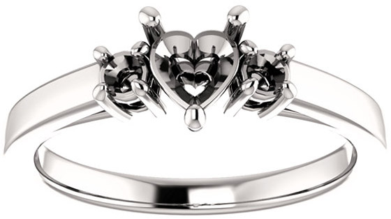 Heart 3Stone Ring Mounting for Gemstone Size 5mm to 10mm, Round Side Gems
