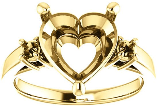 Heart 3-Stone Ring Mounting for Shape Centergems Sized 5.00 mm to 10.00 mm, Round Side Gems - Customize Metal, Accents or Gem Type
