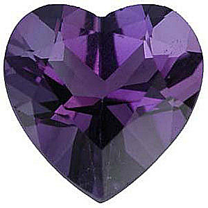 Heart Cut Genuine Amethyst in Grade AAA